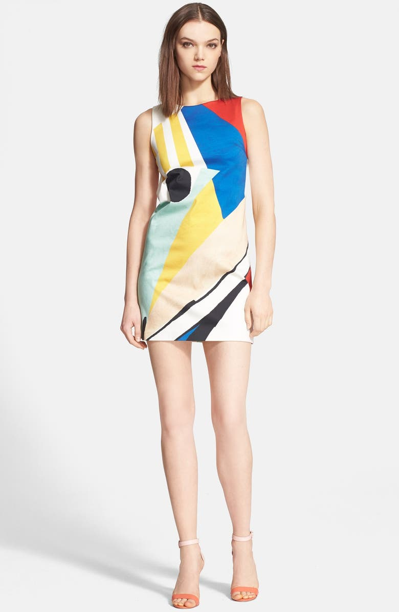 ALICE + OLIVIA 'Clyde' Print Stretch Cotton Dress, Main, color, 400