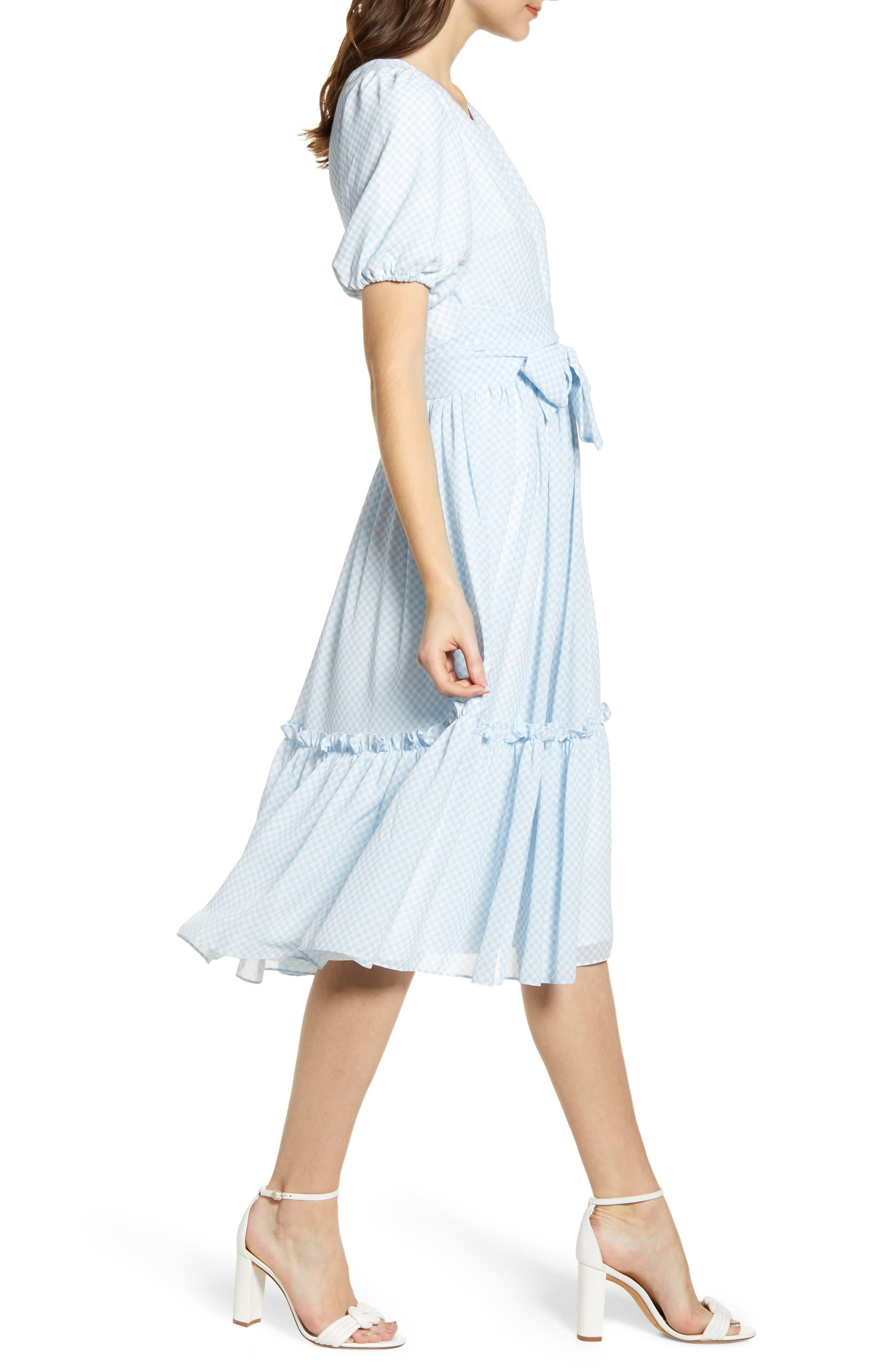 ,                             Gingham Puff Sleeve Dress,                             Alternate thumbnail 6, color,                             BLUE SKYWAY GINGHAM