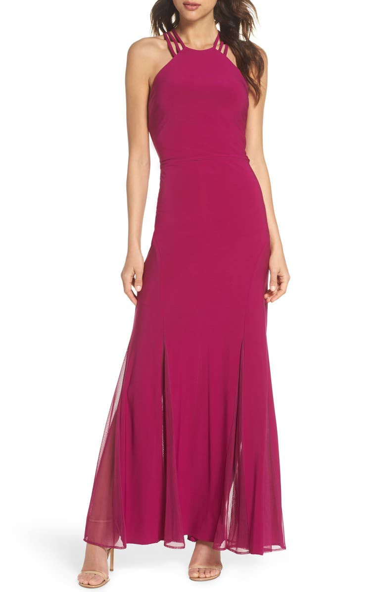 MORGAN & CO. Strappy Back Trumpet Gown, Main, color, 653