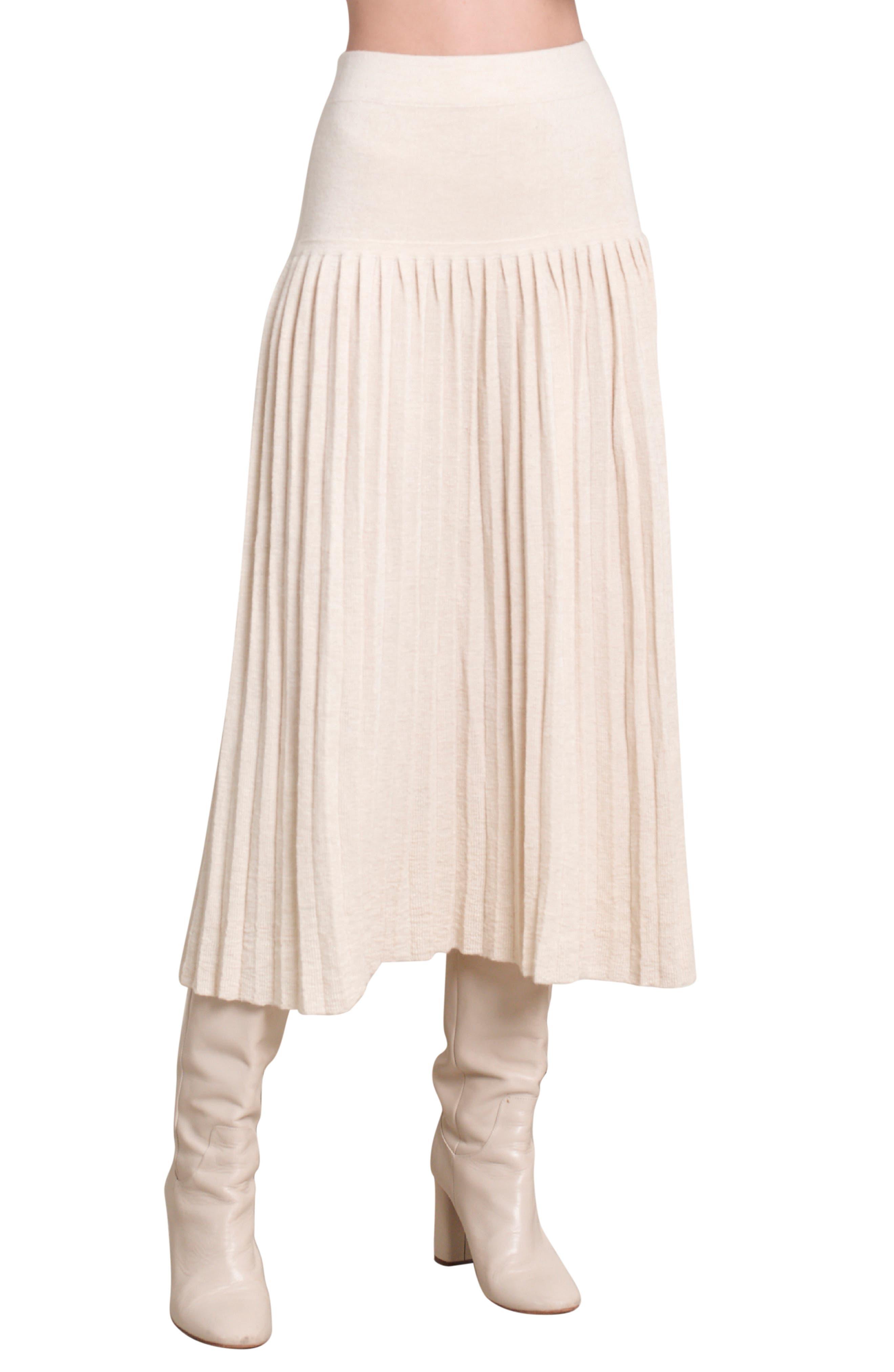 Lea Pleated Alpaca Skirt