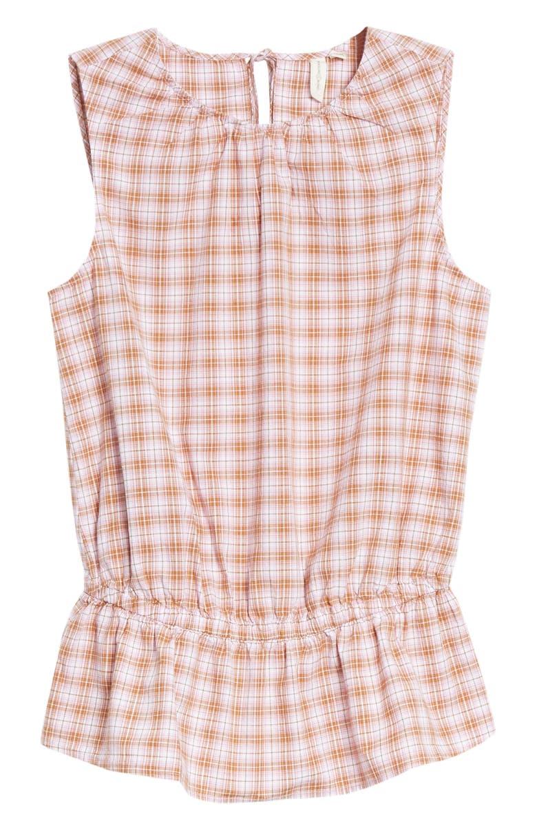 TREASURE & BOND Check Peplum Top, Main, color, WHITE- PINK JULIE PLAID