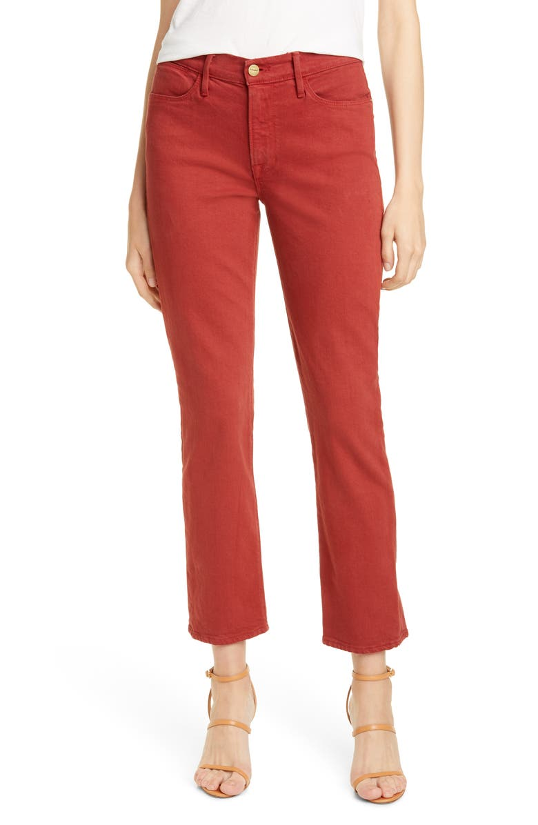 FRAME Le High Ankle Straight Leg Jeans, Main, color, FIRED BRICK