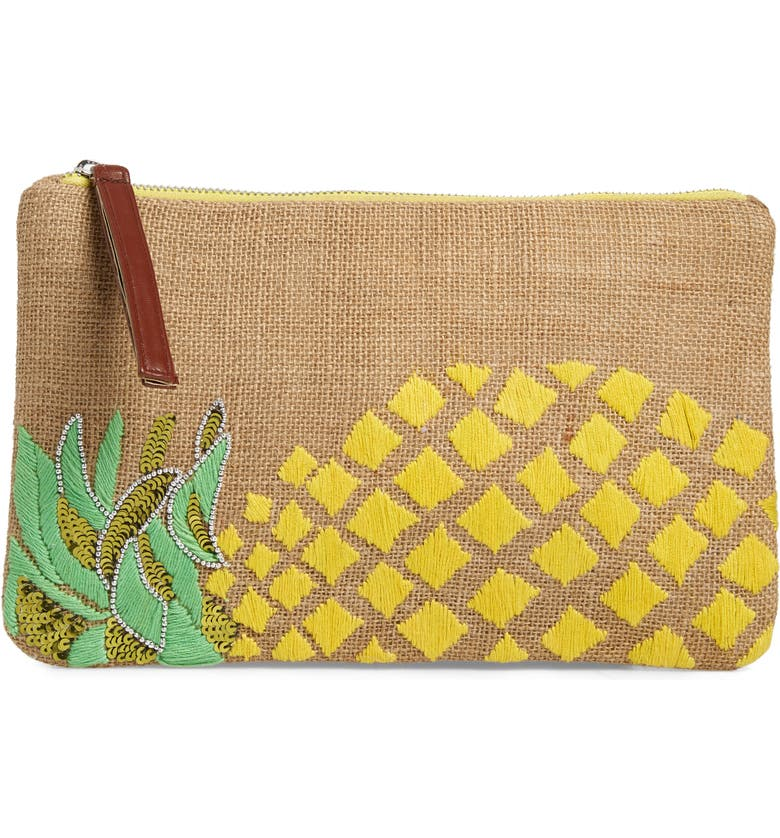 SONDRA ROBERTS Embellished Pineapple Jute Clutch, Main, color, NATURAL