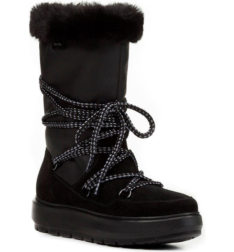 GEOX Kaula Waterproof Boot, Main, color, BLACK SUEDE