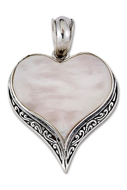 Image of Samuel B Jewelry Sterling Silver Mother of Pearl Heart Pendant