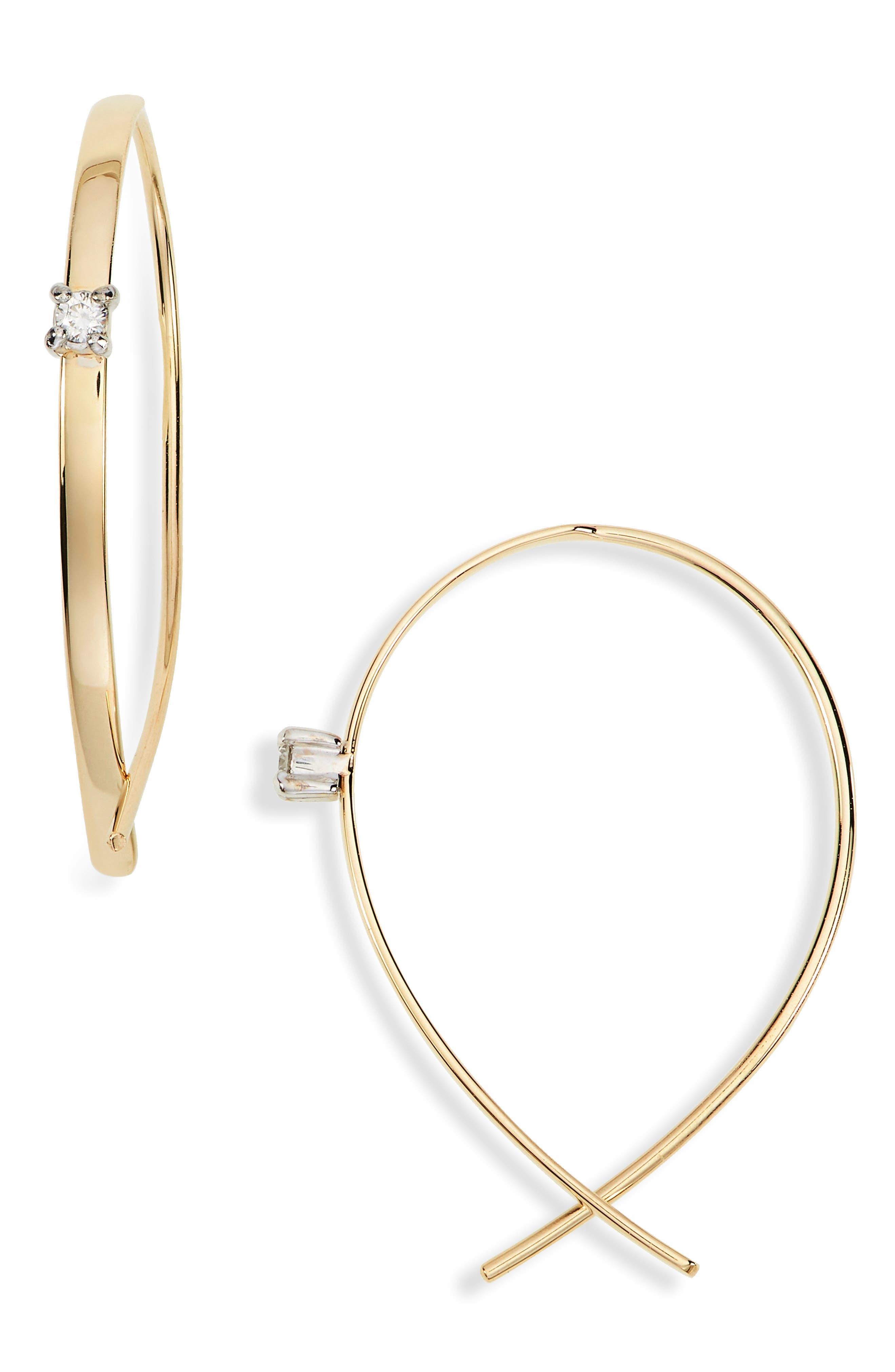 Solo Mini Upside Down Diamond Hoop Earrings