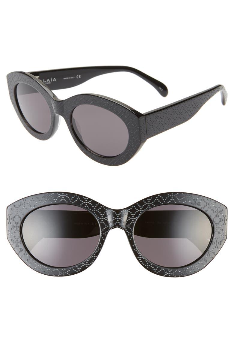 ALAÏA 52mm Cat Eye Sunglasses, Main, color, BLACK