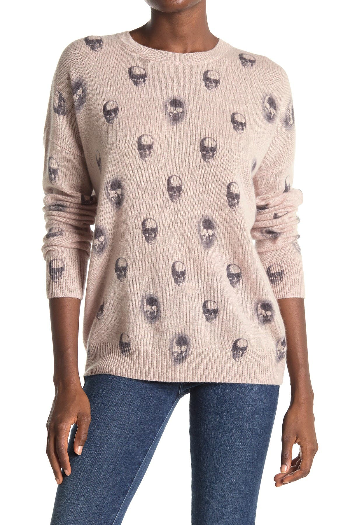 Image of SKULL CASHMERE Cara X-Ray Skull Print Cashmere Sweater