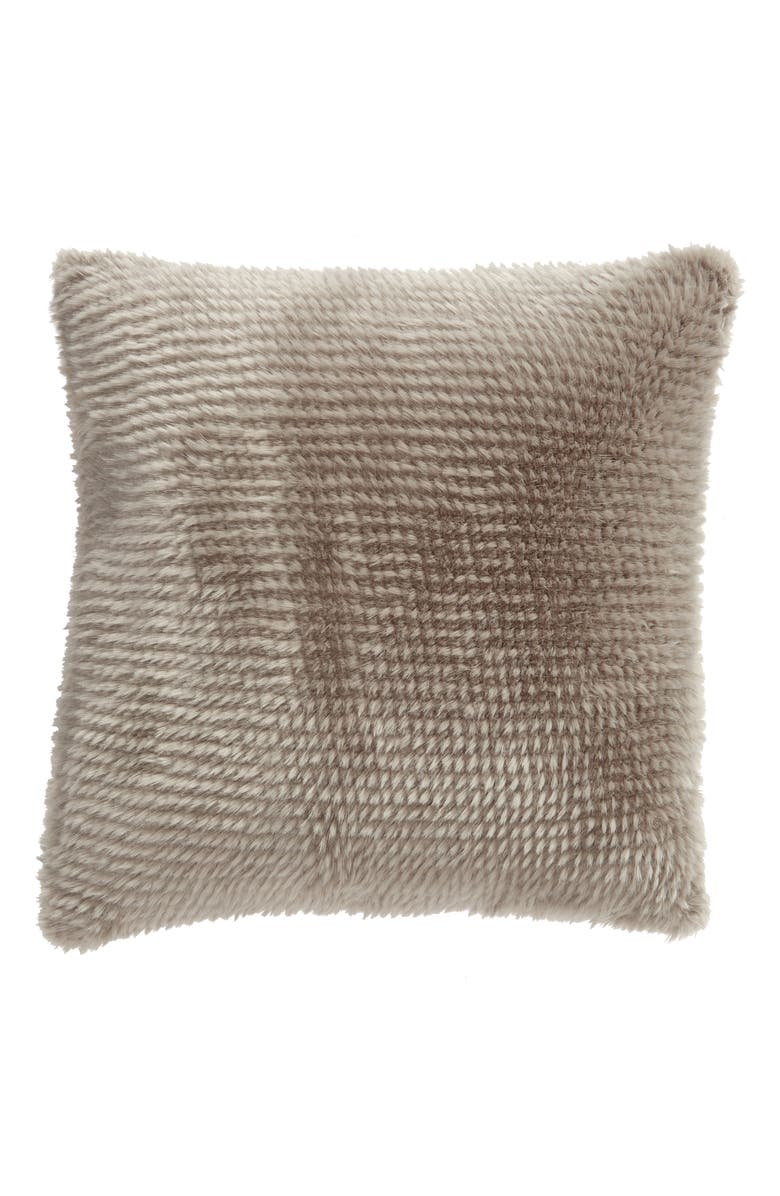NORDSTROM AT HOME Quill Faux Fur Accent Pillow, Main, color, GREY FROST