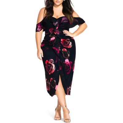Plus Size City Chic Decadent Floral Off The Shoulder Dress, Black