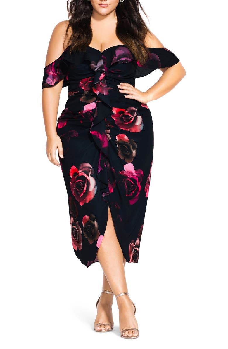 CITY CHIC Decadent Floral Off the Shoulder Dress, Main, color, DECADENT FLORAL