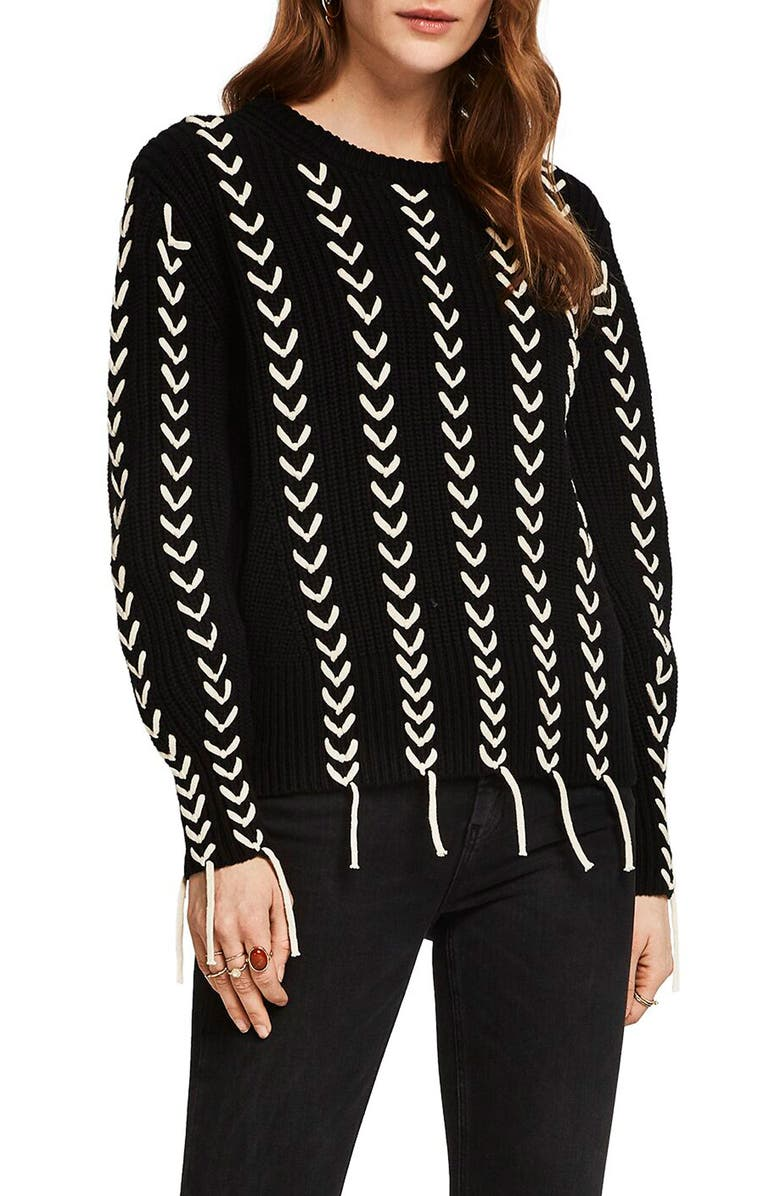SCOTCH & SODA Chunky Patterned Sweater, Main, color, BLACK
