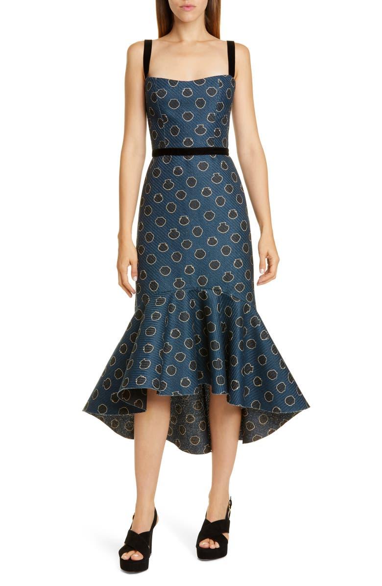 JOHANNA ORTIZ Ruffle Hem Midi Dress, Main, color, COSMIC SAPPHIRE/ BLACK