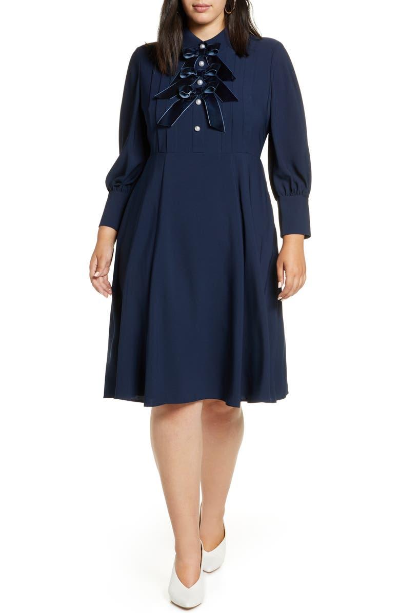HALOGEN<SUP>®</SUP> x Atlantic-Pacific Bow Detail Fit & Flare Dress, Main, color, 401