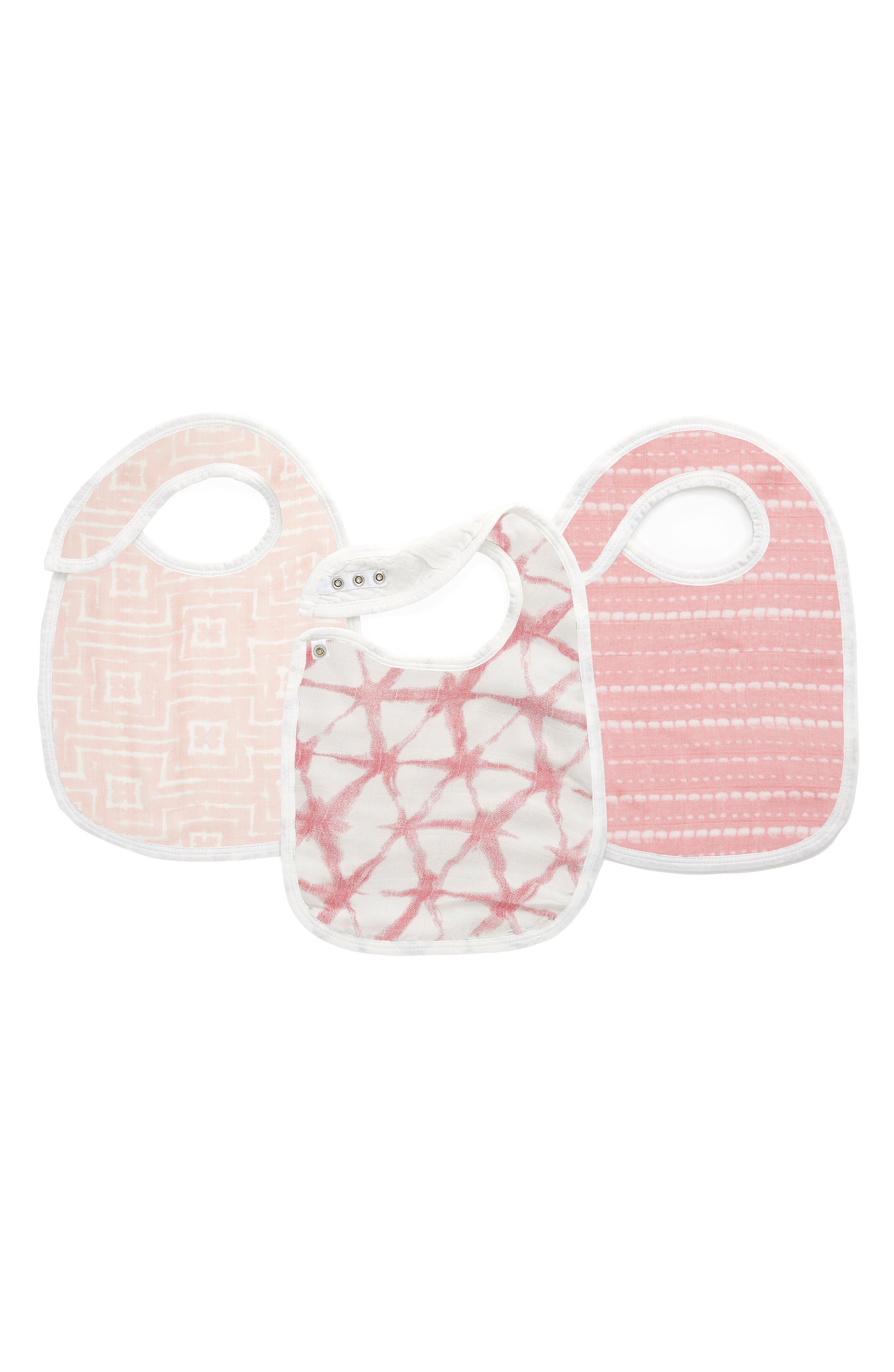 Infant Aden  Anais Shibori 3Pack Snap Bibs Size One Size  Pink