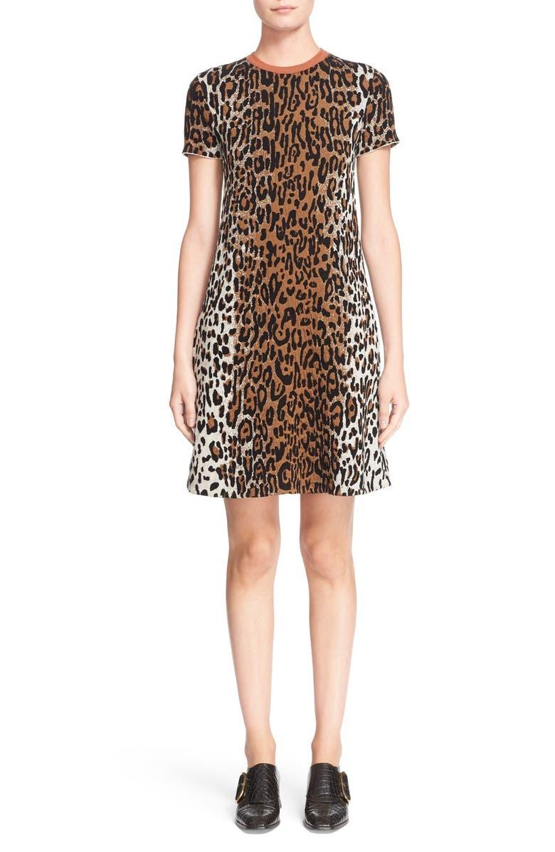 STELLA MCCARTNEY Cheetah Jacquard Dress, Main, color, 991