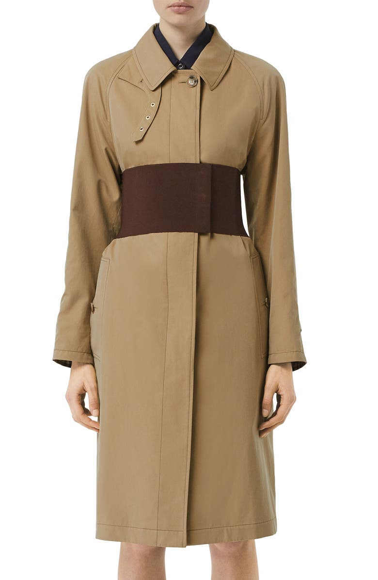 BURBERRY Belted Car Coat, Main, color, PALE HONEY