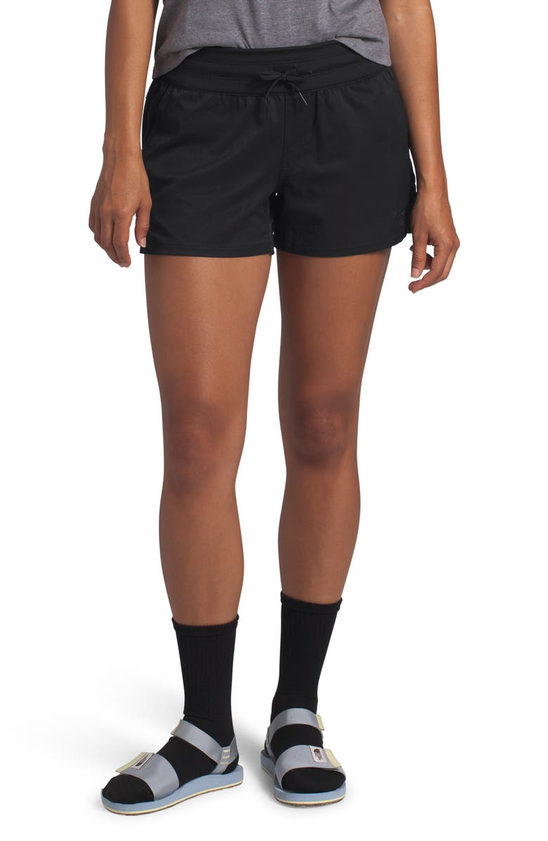 THE NORTH FACE Aphrodite Motion Water Repellent Shorts, Main, color, BLACK