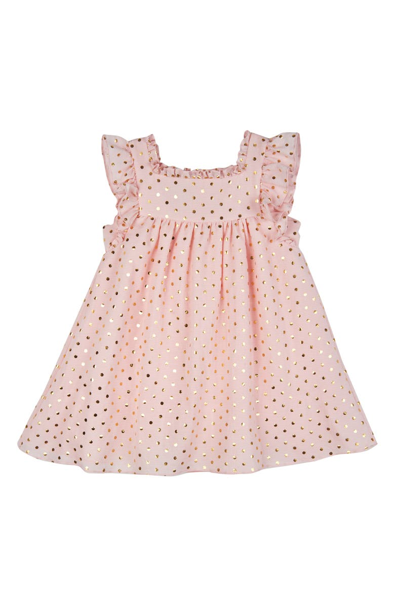PIPPA & JULIE Metallic Dot Trapeze Dress, Main, color, PEACH