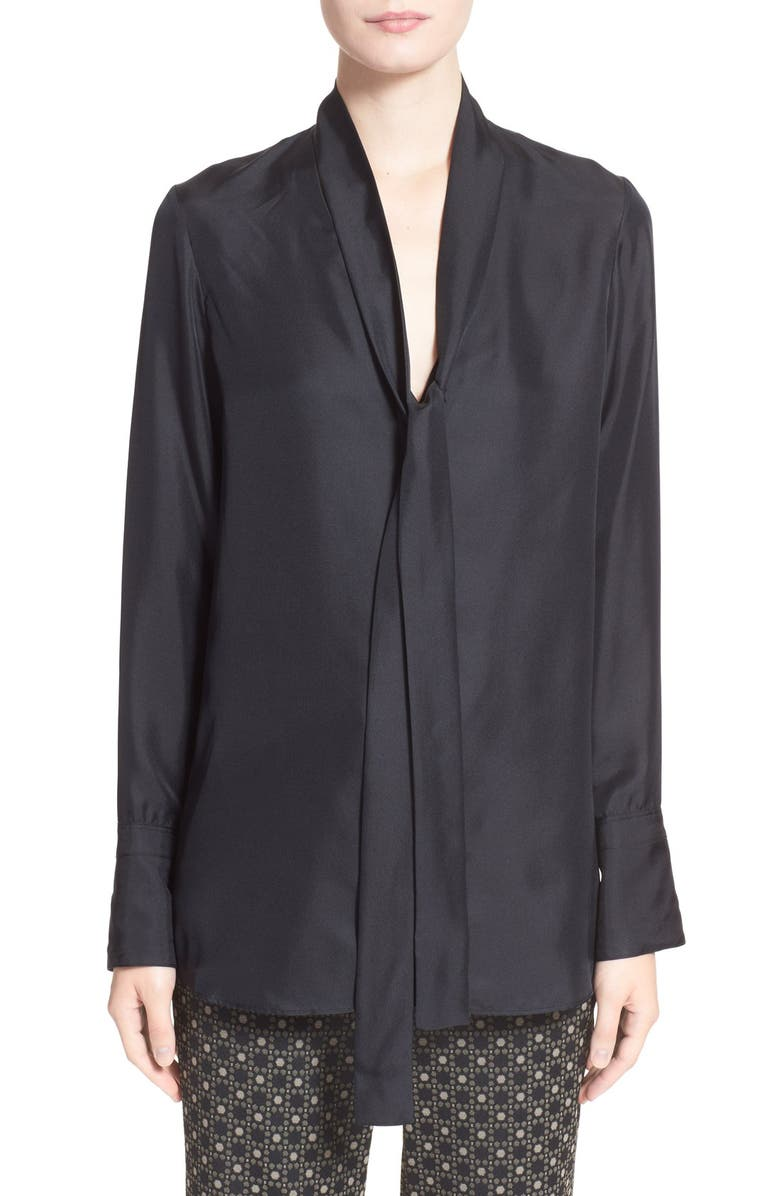 RAG & BONE 'Florence' Tie Neck Silk Shirt, Main, color, 001