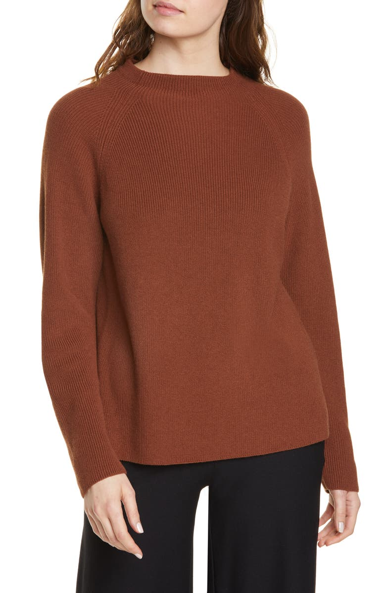 EILEEN FISHER Organic Cotton Blend Sweater, Main, color, NUTMEG