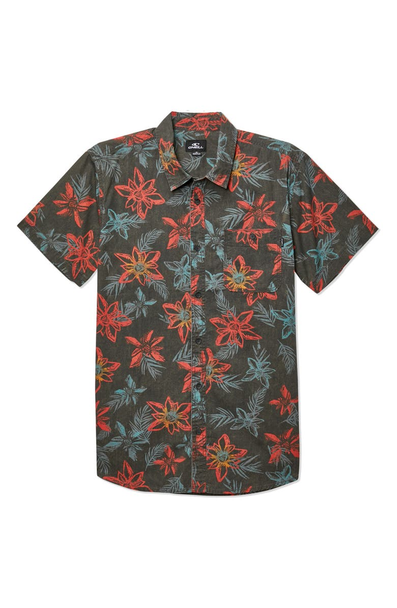 O'NEILL Threshold Short Sleeve Tropical Shirt, Main, color, GRAPHITE