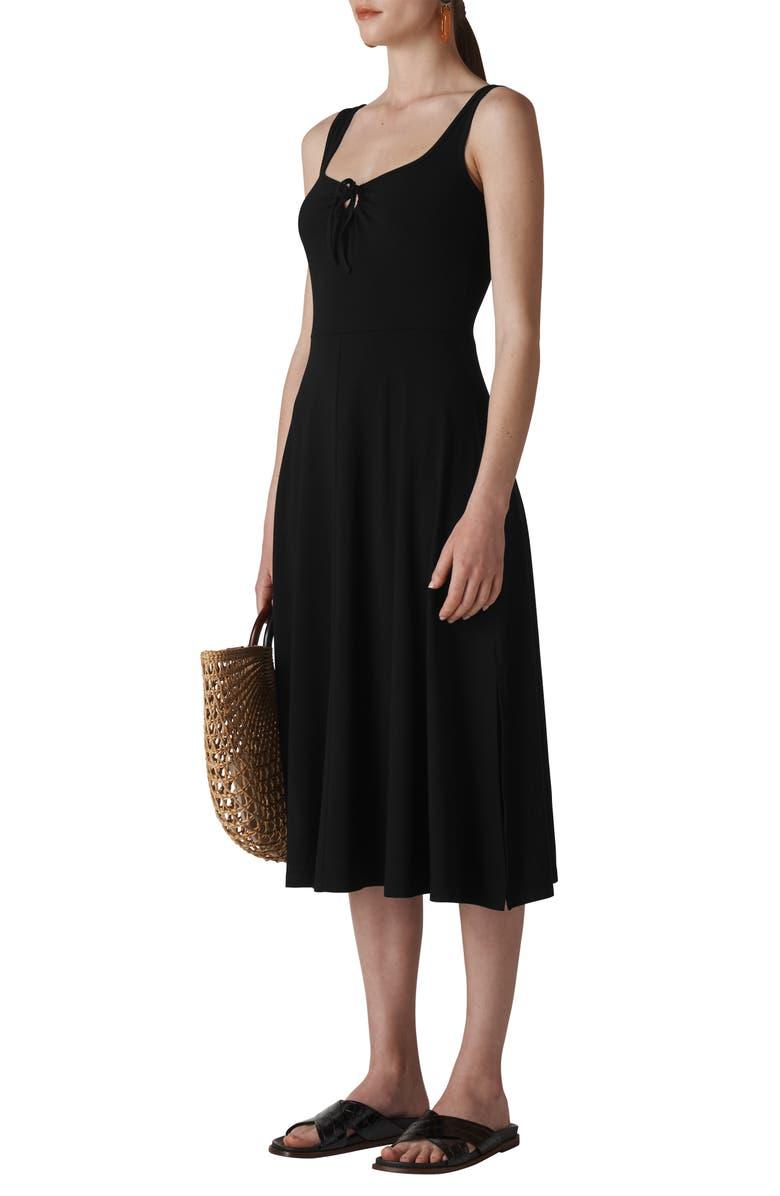 WHISTLES Paulette Sleeveless Jersey Midi Dress, Main, color, BLACK