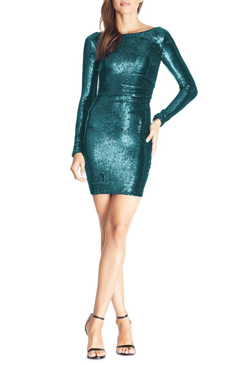 DRESS THE POPULATION Lolita Sequin Long Sleeve Minidress, Main, color, DEEP EMERALD