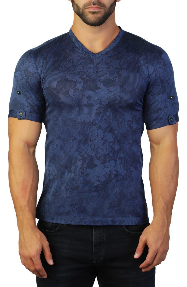 MACEOO Vivaldi V-Neck T-Shirt, Main, color, BLUE