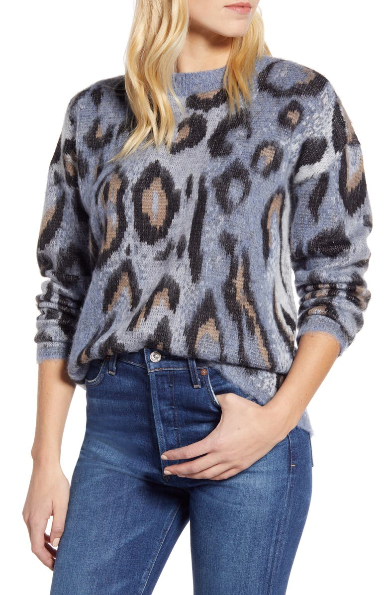 RD STYLE Leopard Jacquard Sweater, Main, color, BLUE