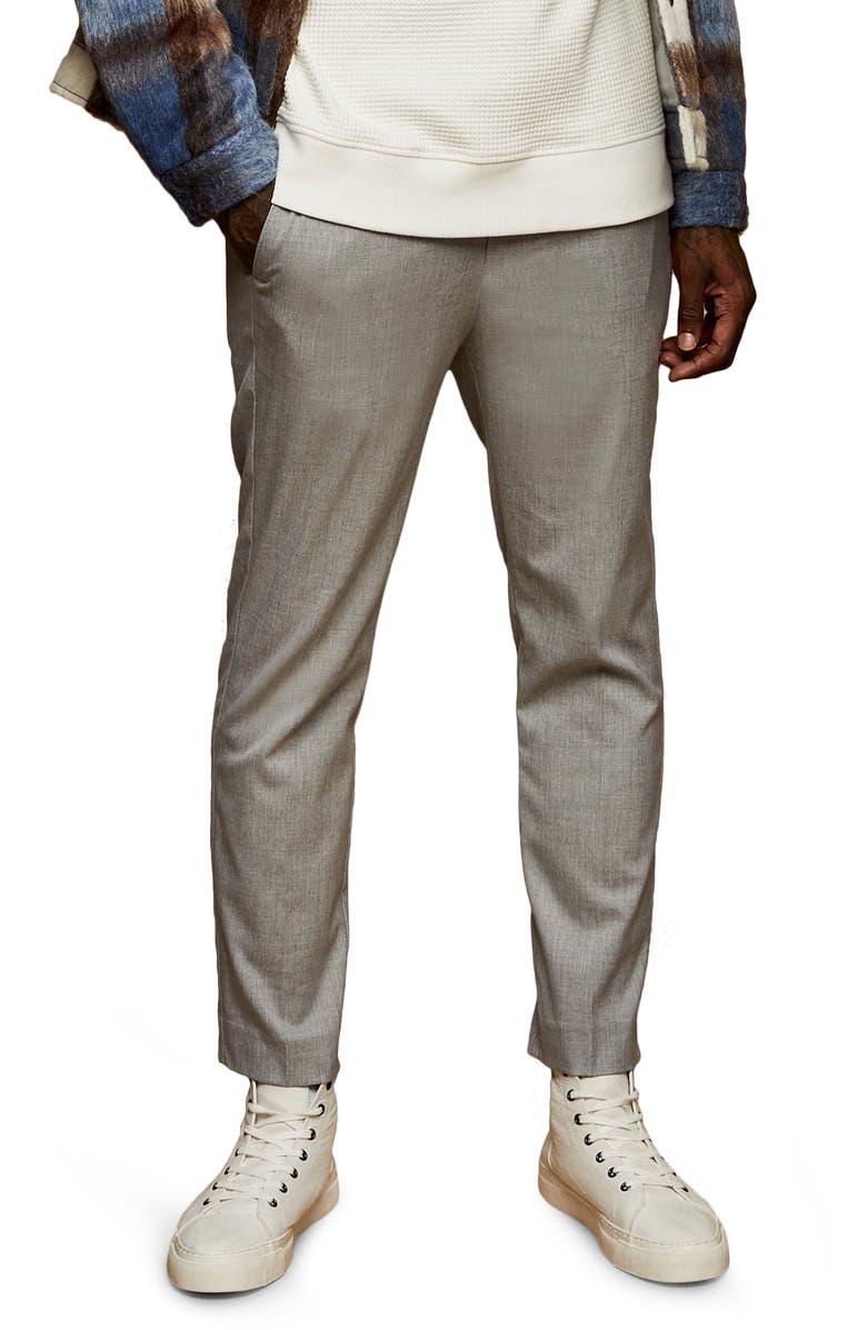 TOPMAN Skinny Fit Drawstring Pants, Main, color, Grey
