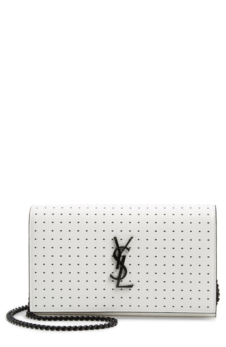 SAINT LAURENT Kate Square Dot Wallet on a Chain, Main, color, WHITE MATTE/ NOIR