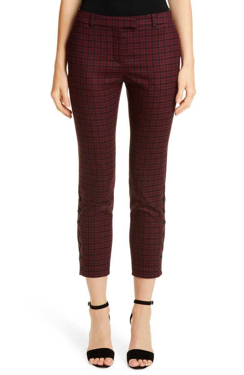 ALTUZARRA Side Button Skinny Tartan Pants, Main, color, CARMINE/ BLACK