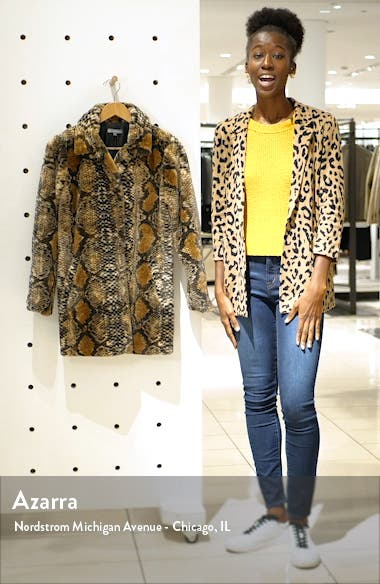 Snakeskin Print Faux Fur Coat, sales video thumbnail