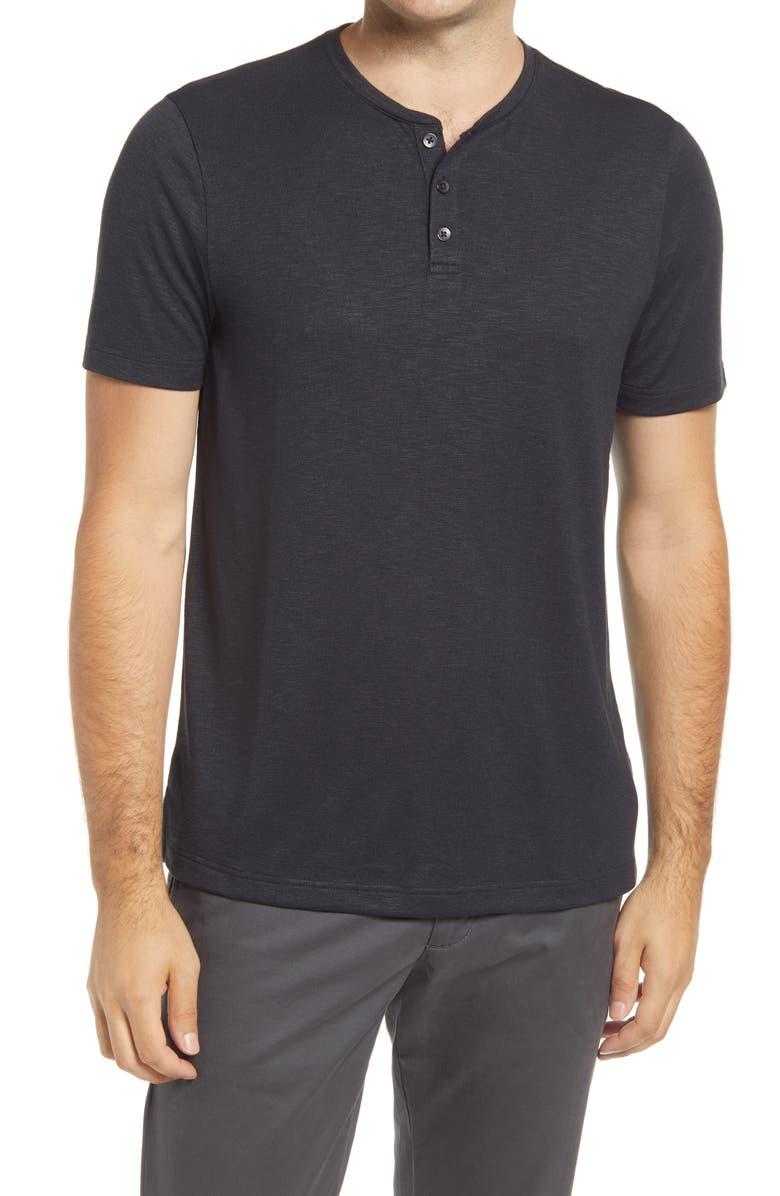 NORDSTROM MEN'S SHOP Ultra Soft Henley, Main, color, BLACK CAVIAR