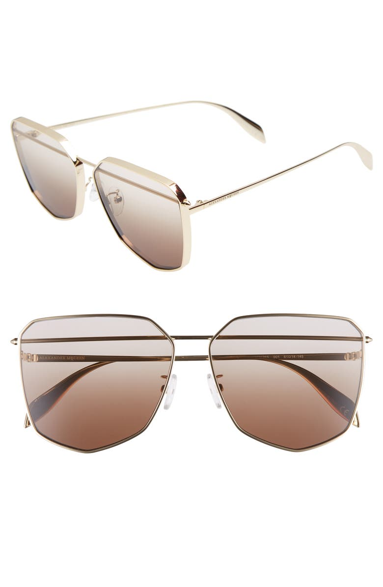 ALEXANDER MCQUEEN 61mm Oversize Sunglasses, Main, color, GOLD