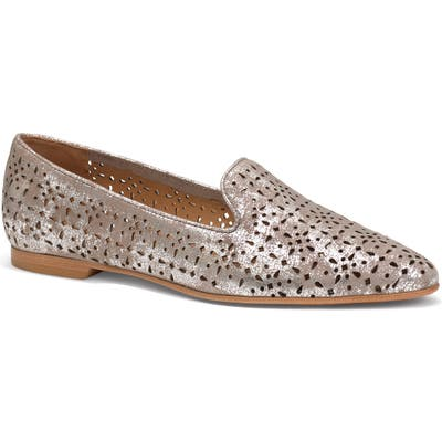 Trask Farrah Perforated Loafer, Metallic