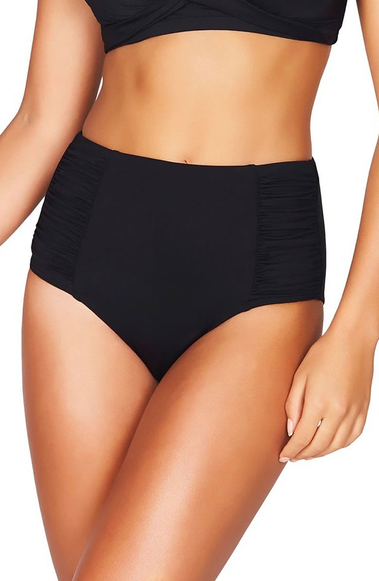 SEA LEVEL High Waist Bikini Bottoms, Main, color, BLACK