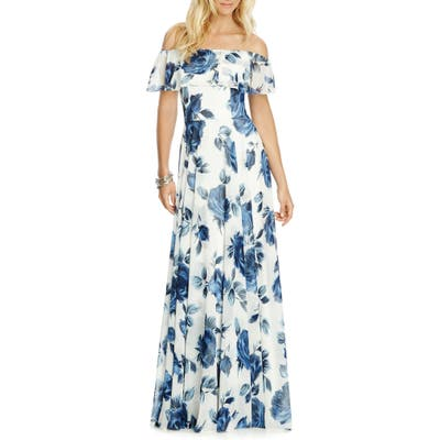 After Six Floral Chiffon Off The Shoulder Gown