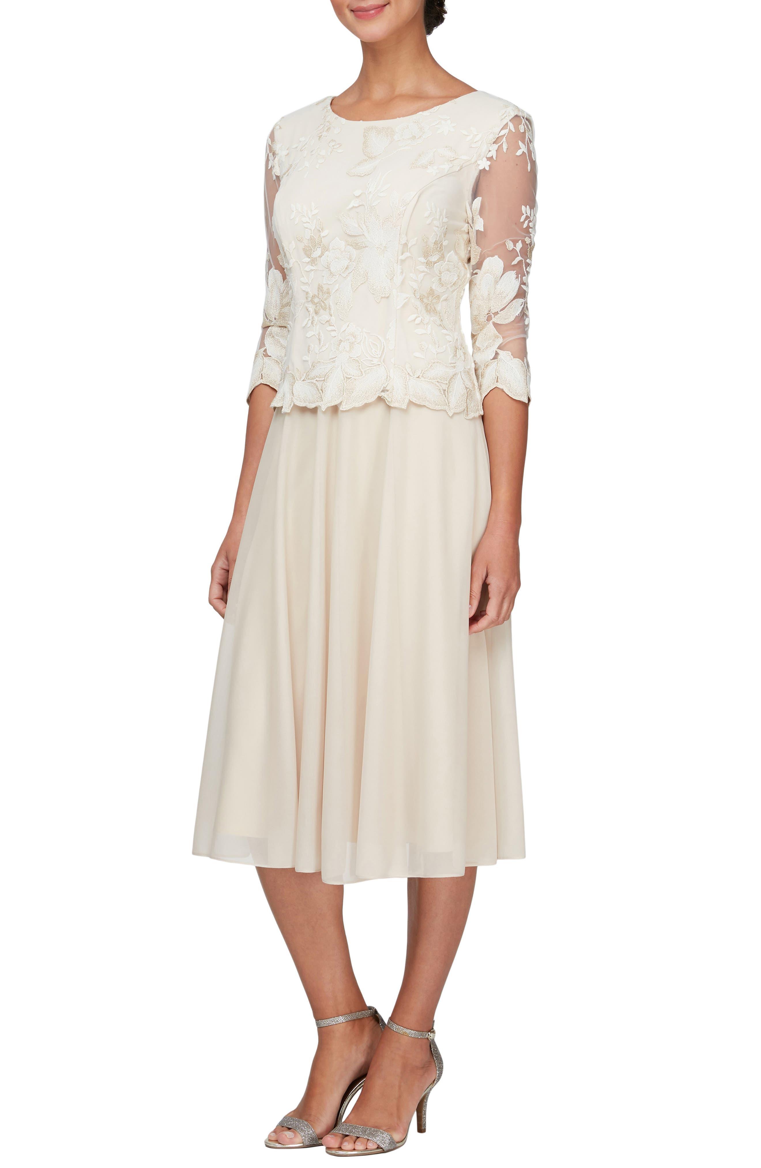 Illusion Sleeve Embroidered Midi Dress