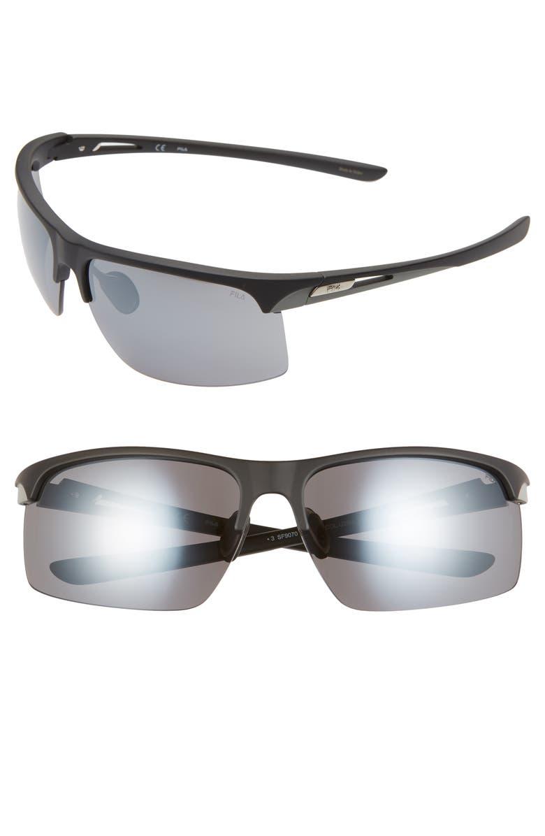 FILA 69mm Oversize Wraparound Sunglasses, Main, color, 001