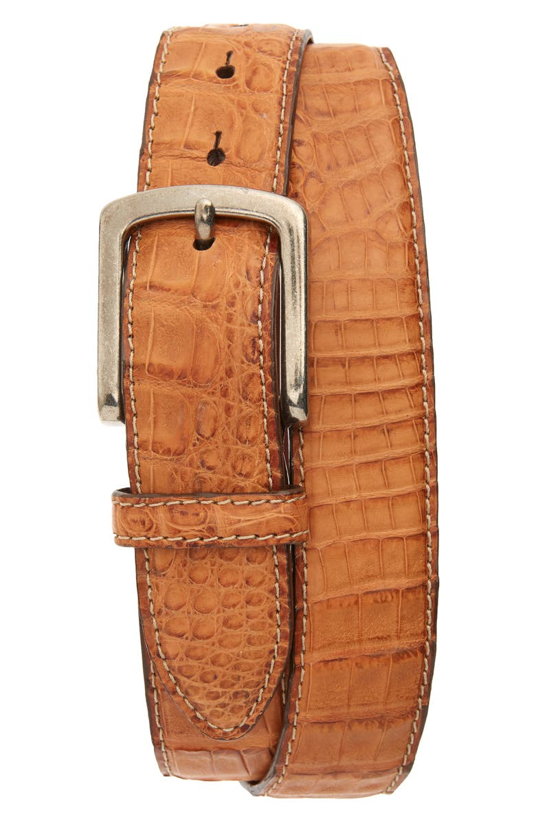 TORINO Caiman Leather Belt, Main, color, COGNAC