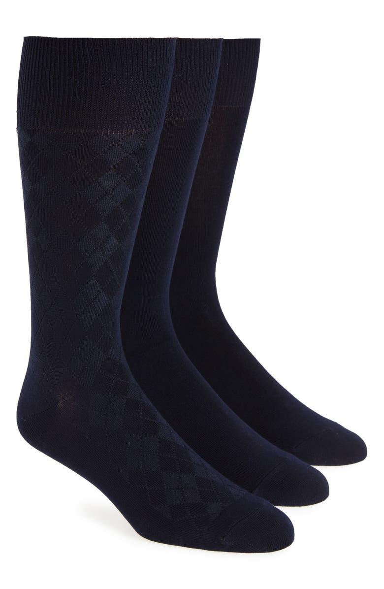 CALVIN KLEIN 3-Pack Dress Socks, Main, color, NAVY