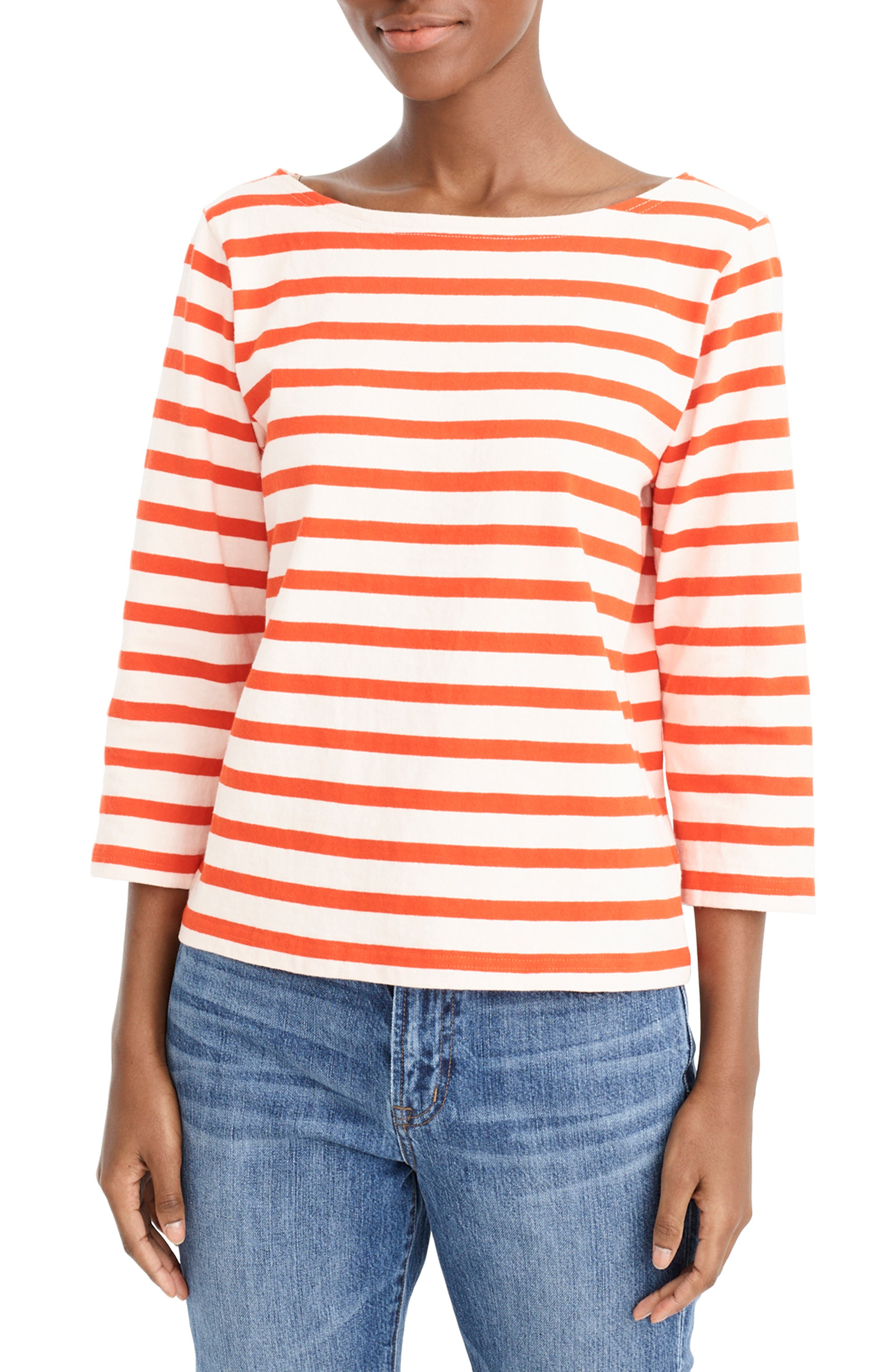 ,                             Structured Stripe Tee,                             Main thumbnail 1, color,                             SUBTLE PINK RED