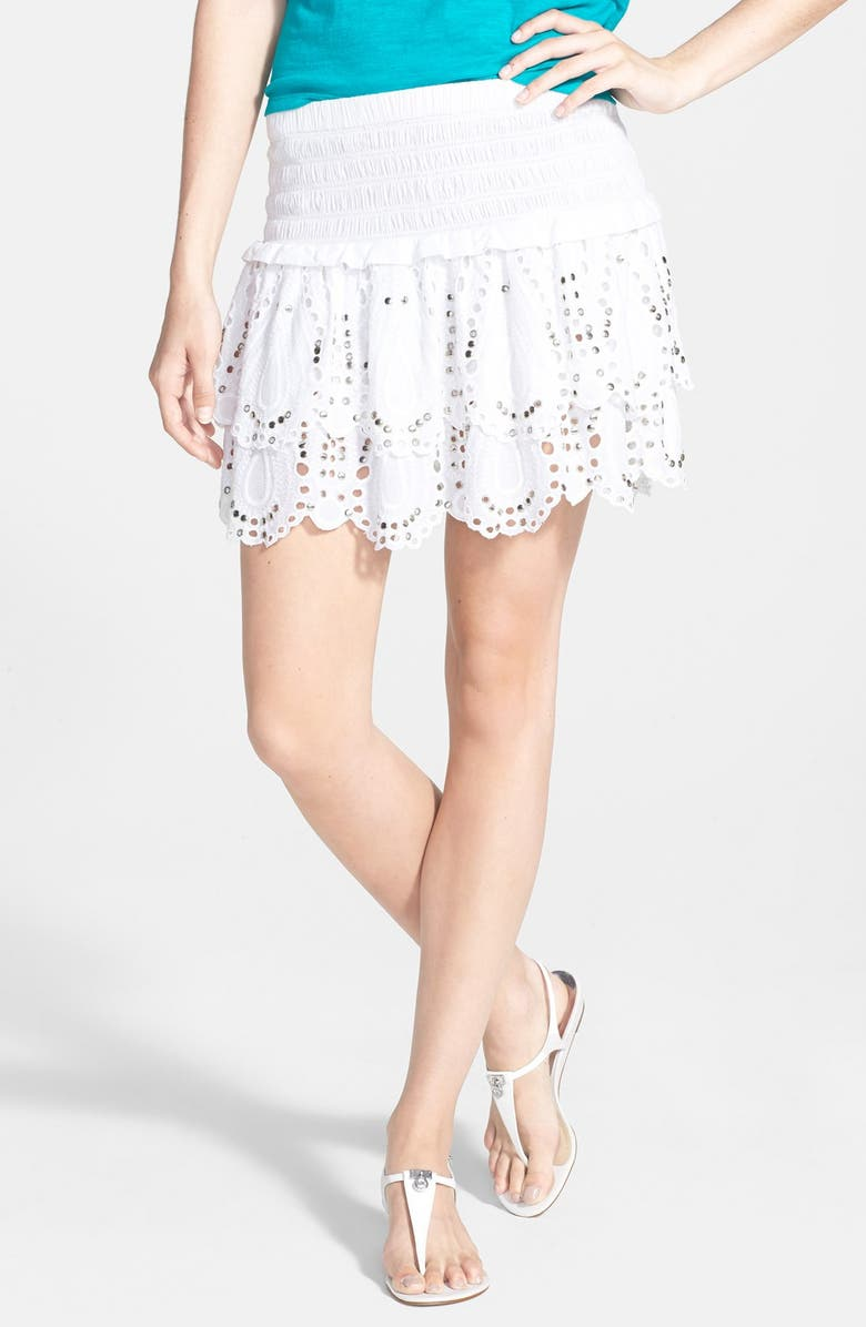 MICHAEL MICHAEL KORS Tiered Eyelet Miniskirt, Main, color, 100