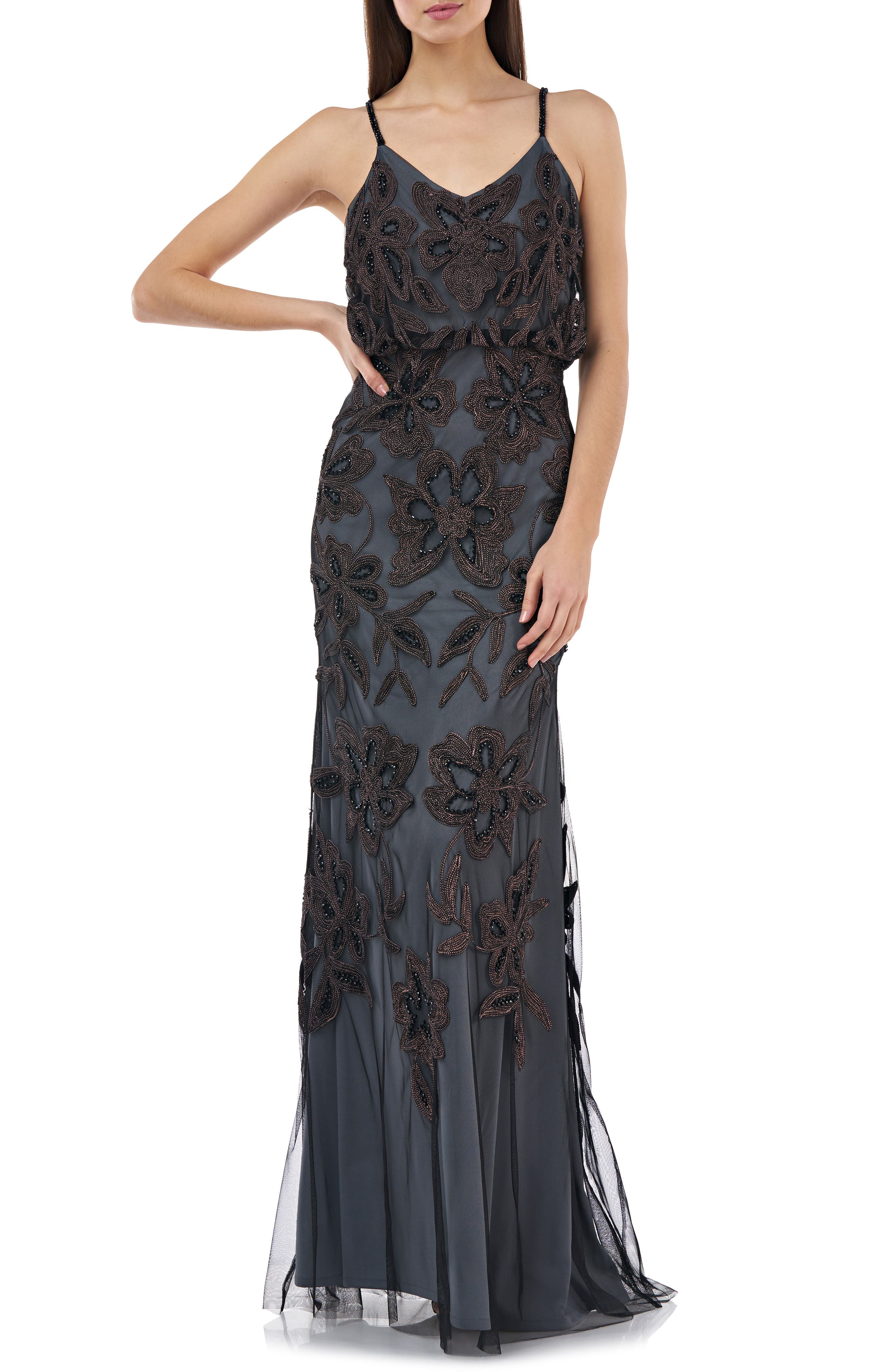 Edwardian Evening Gowns , Ballgowns, Formal Dresses Womens Js Collections Beaded Blouson Gown $338.00 AT vintagedancer.com