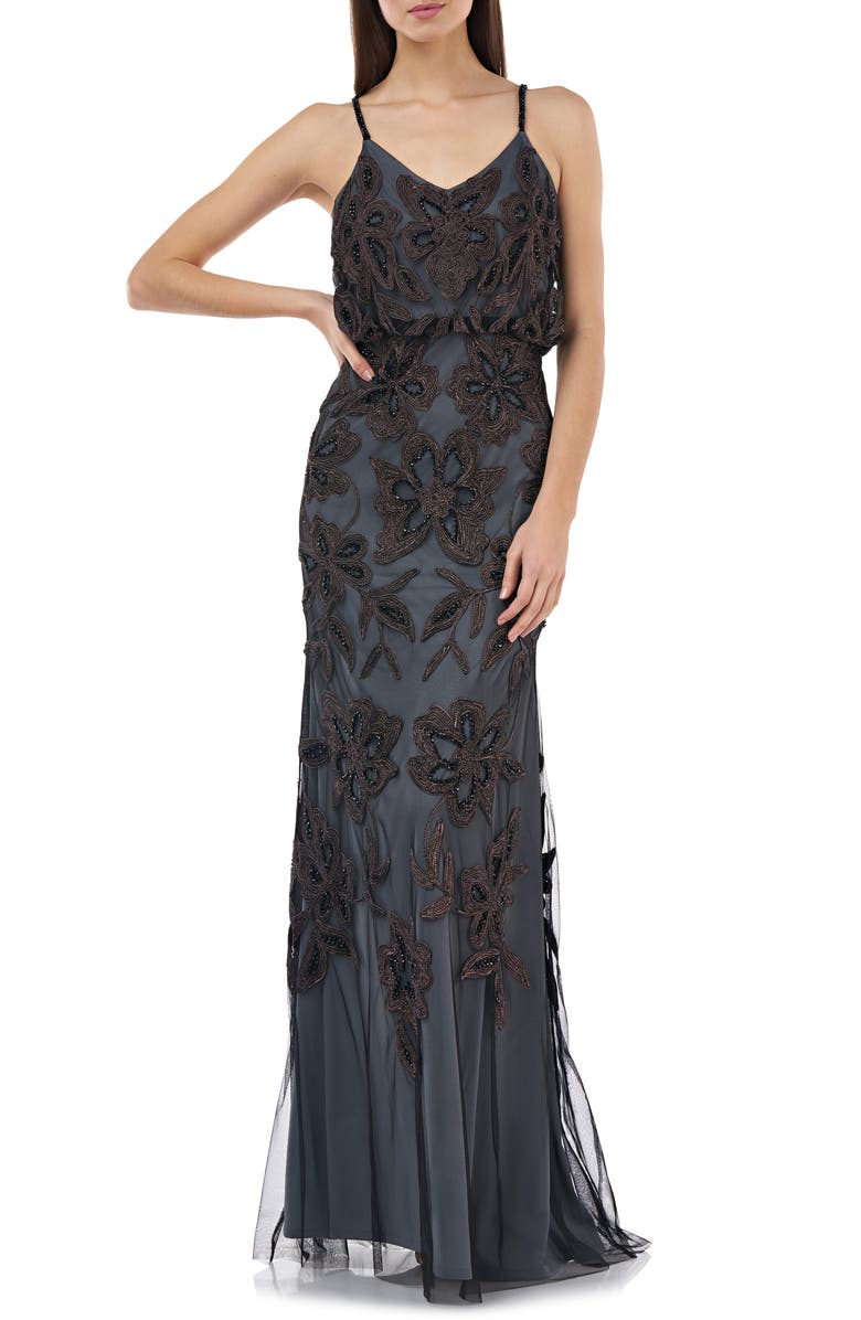 JS COLLECTIONS Beaded Blouson Gown, Main, color, BLACK/ MISTY LILAC
