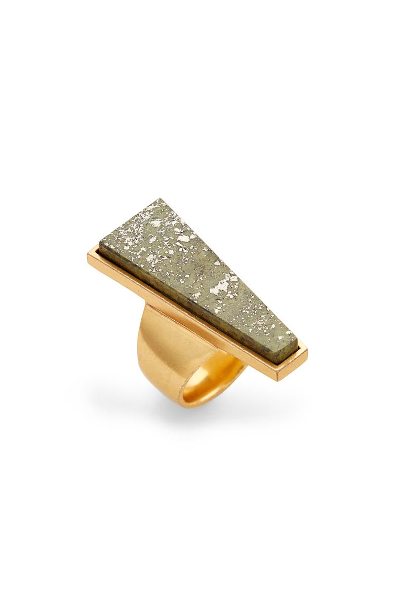 KENDRA SCOTT Collins Cocktail Ring, Main, color, VINTAGE GOLD/ OLIVE EPIDOTE