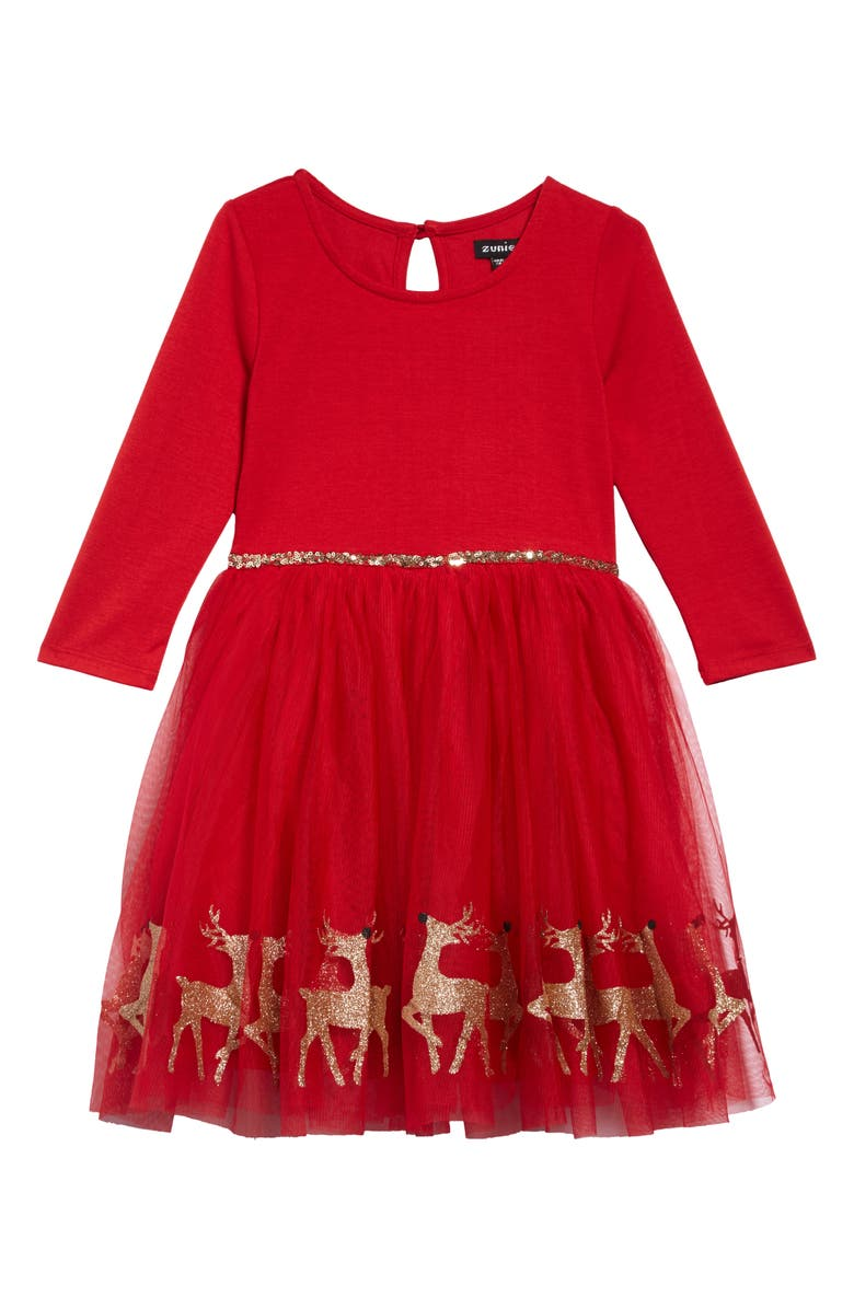 ZUNIE Glitter Reindeer Border Long Sleeve Dress, Main, color, 611