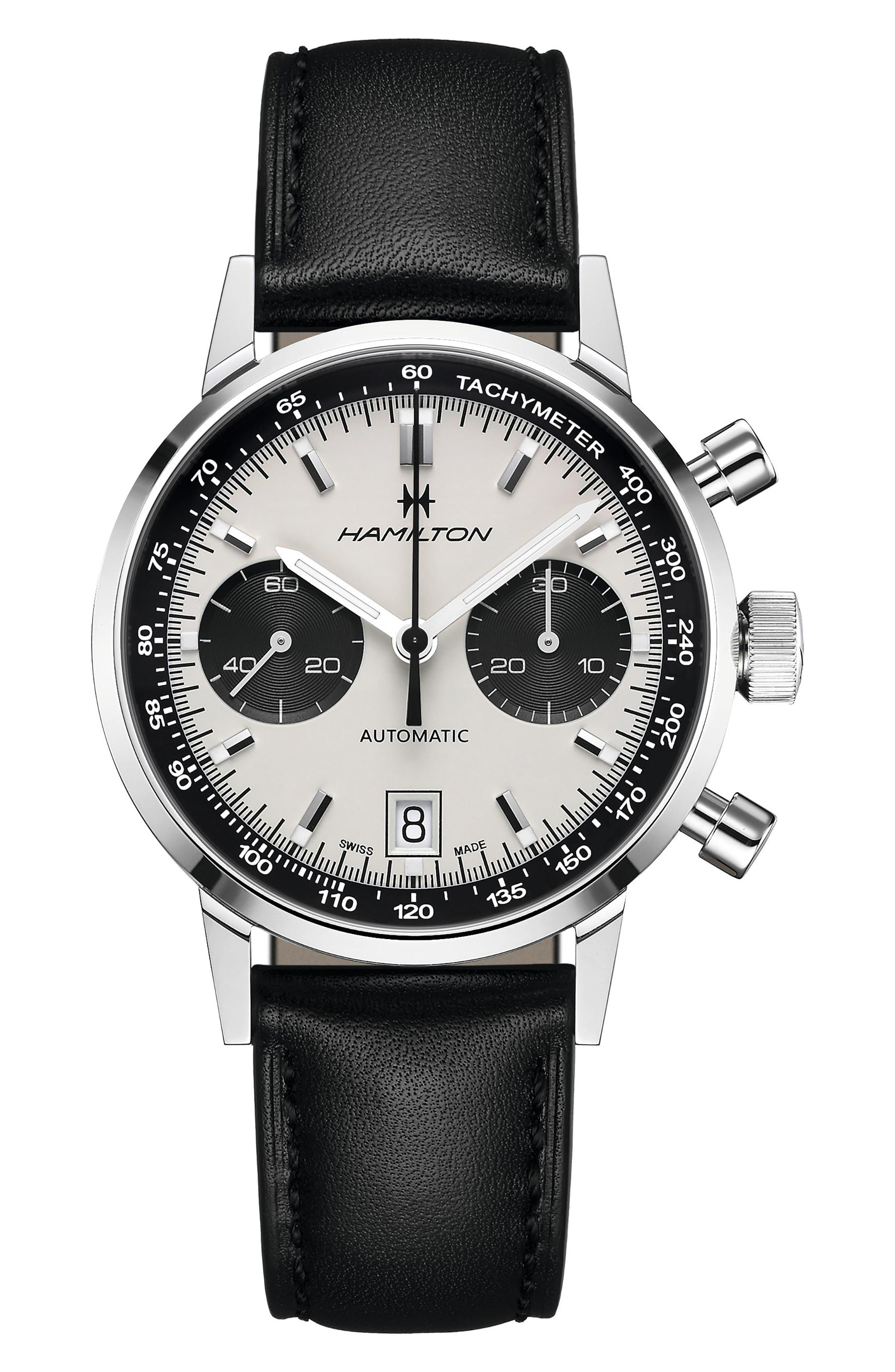 Intra-Matic Automatic Chronograph Leather Strap Watch